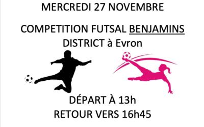 Futsal BENJAMINES et BENJAMINS mercredi 27 novembre