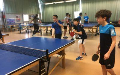 Compétition district badminton pour les benjamins et tennis de table établissement le mercredi 29 janvier